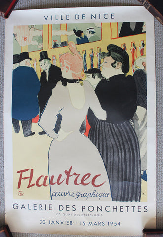 Pair of Mid-Century French Posters, a Toulouse Lautrec Exhbition Poster and a Moulin Rouge Poster