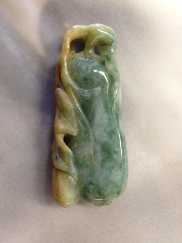 Chinese Carved Bean or Double Gourd Burmese Jadeite Pendant