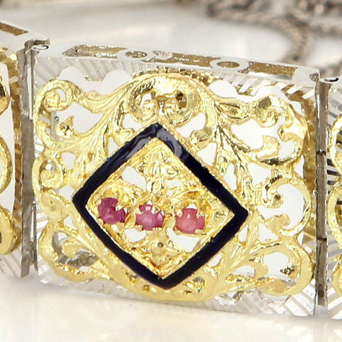 18K Yellow Gold, Ruby and Black Enamel Bracelet, 20th century