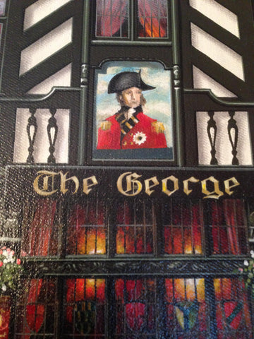 "Jurek Jablonski (Polish/British 20th/21st c.), ""The George: An English Pub"", oil on canvas, signed and dated 1989"