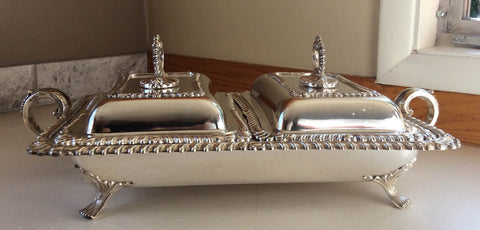 English Silver-Plated Two-Compartment Chafing Dish, William Adams, early 20th century