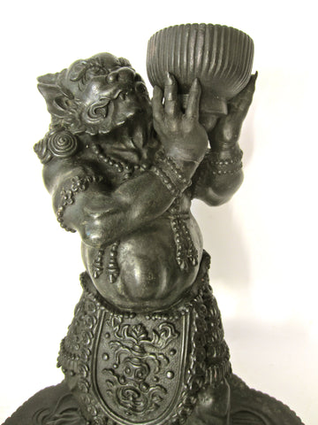 Japanese Cast Bronze Figure of an Oni on a Lotus Stand,Unsigned, late 19th/early 20th century