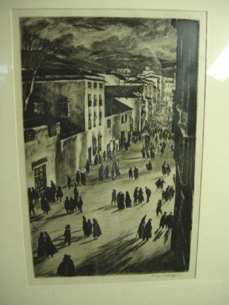 Sir David Muirhead Bone (Scottish, 1876-1953), A Spanish Good Friday (Ronda), drypoint, 1925, signed lower right