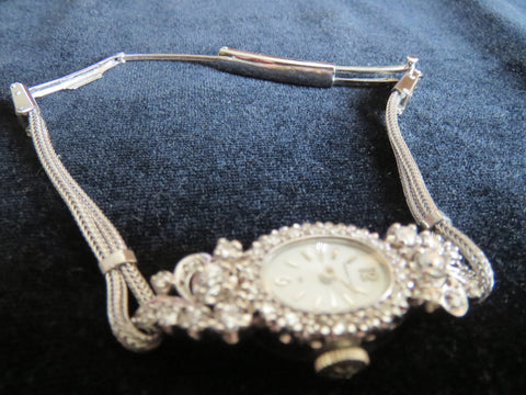Ladies 14K White Gold, Base Metal and Diamond Wristwatch, Hamilton Watch Company, Lancaster, PA, ca. mid 20th century