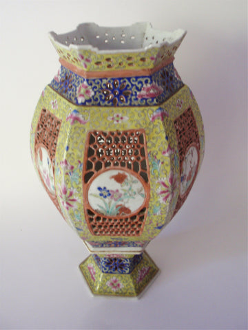 Chinese Famille Jaune Enameled Porcelain Lamp, Late Qing Dynasty/Early Republican Period, 20th century