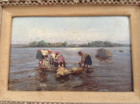 Vladimir Makovsky (Russian, 1846-1920), Four Laundresses, oil on panel, signed and dated 1899
