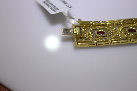 18K Yellow Gold, Diamond and Ruby Bracelet, 20th/21st centiury