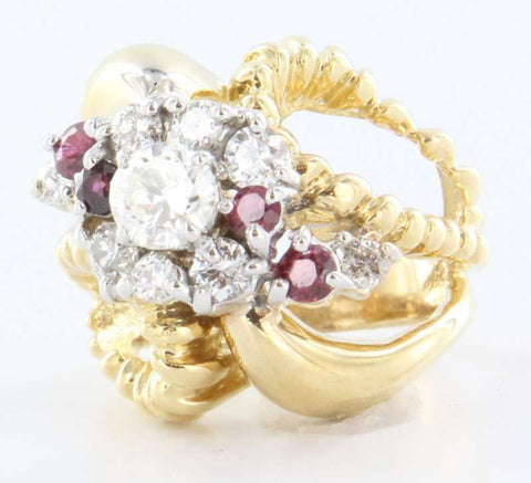 14K Yellow Gold, Diamond and Ruby Ring, 20th century