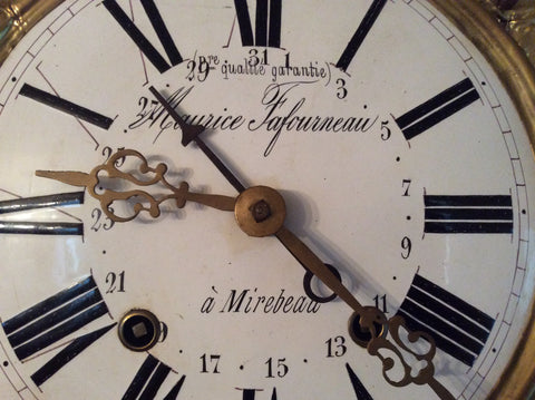 "Morbier (Comptoise) ""Wag-on-the-Wall"" Calendar Clock, retailed by ""Maurice Fafourneau..."", unsigned, French movement, ca. 1850"