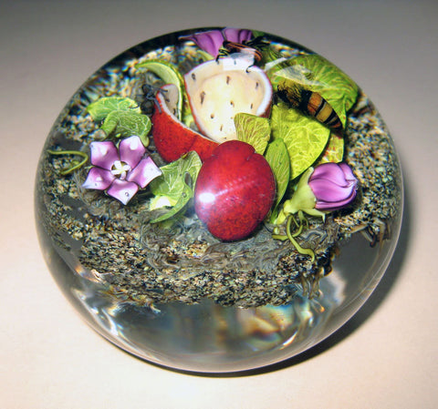 Paul Stankard (American, b. 1943), Glass Botanical Paperweight, signed, 2001