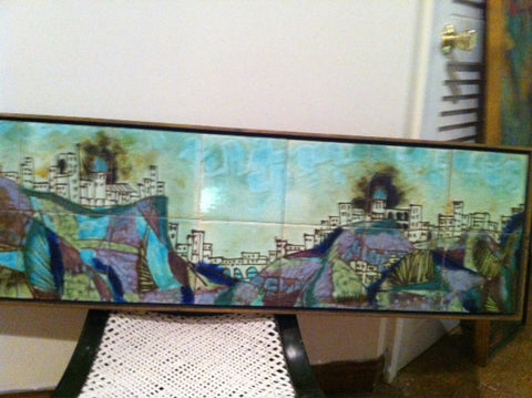 American Polychrome Enameled Ceramic Tile Panel, Abstract Cityscape, mid-20th century