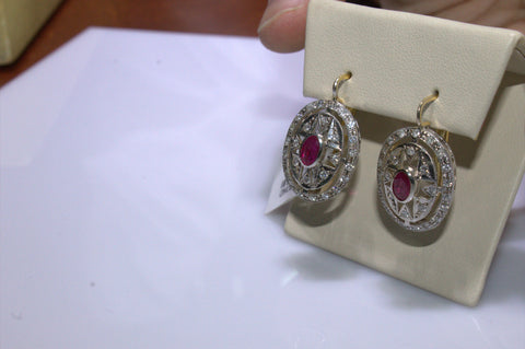 Pair of 14K Yellow and White Gold, Ruby and Diamond Earrings, manufactured in the former USSR, 20th century