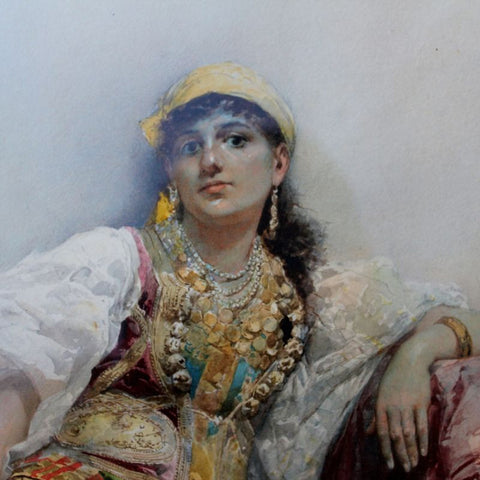 Gustavo Simoni (Italian, 1846-1926), Woman of the Harem, gouache/watercolor on paper, signed and dated 1882