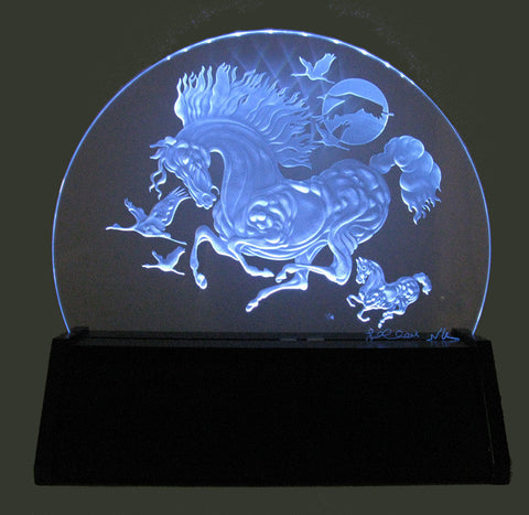 "Guillaume Azoulay (Moroccan, b. 1949), ""In Flight"", hand sandblasted image onto star-fire crystal glass, signed"