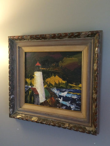 Harpo Marx (American, 1888-1964), Coastal Scene with Lighthouse, oil on masonite, signed, mid-20th century