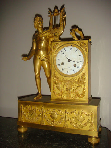 French Empire Ormolu Mantel Clock, Venault, Rue Richelieu, Paris, ca. 1815
