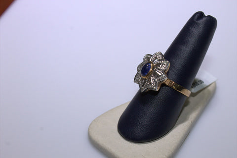 14K Rose and White Gold, Diamond and Sapphire Ring,  20th century