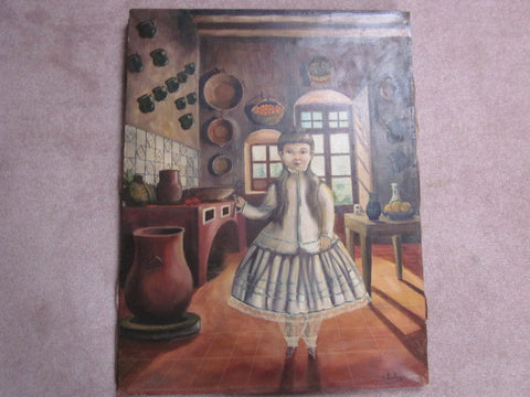 Agapito Labios (Mexico, 1898 - 1996), Young Girl in Kitchen, oil on canvas, signed, 20th century