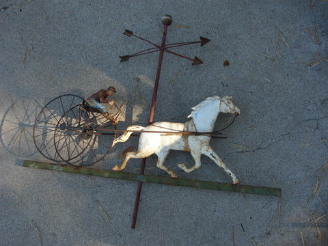 American Painted Cast Iron and Copper Sulky Weathervane, early 20th century