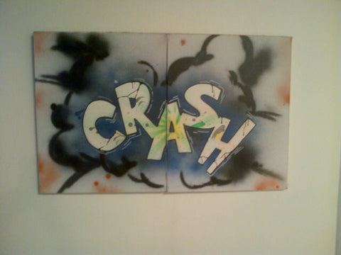 Crash (John Matos) (American, b. 1961), Untitled (CRASH), July 1983, diptych, spray paint on canvas, signed, dated