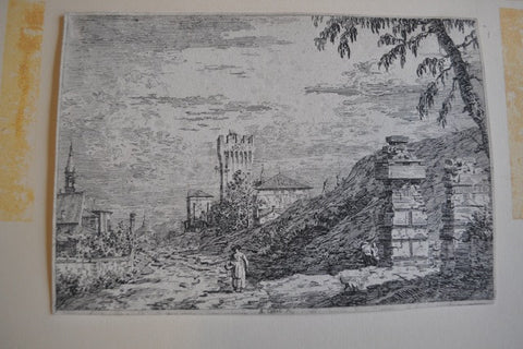 Giovanni Antonio Canal, also known as Canaletto (Italian, 1697-1768), Paesaggio con torre e due Pilastri in Rovina, etching on paper, second state