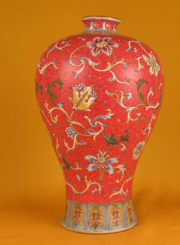 Chinese Famille Rose Enameled Porcelain Meiping Form Vase Republican Period (1912-1949), with apocryphal Qianlong reign mark