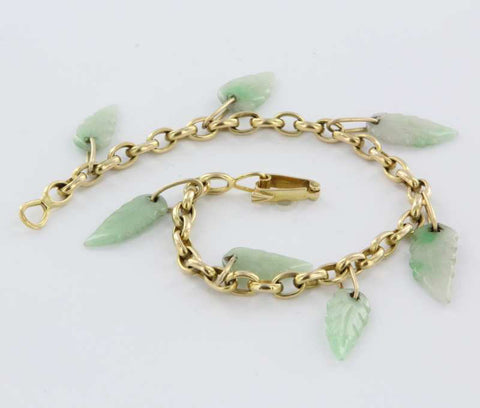 14K Yellow Gold and Jade Charm Bracelet, 20th century