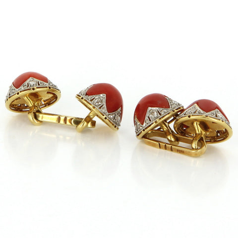 18K Yellow Gold, Diamond and Red Coral Cufflinks