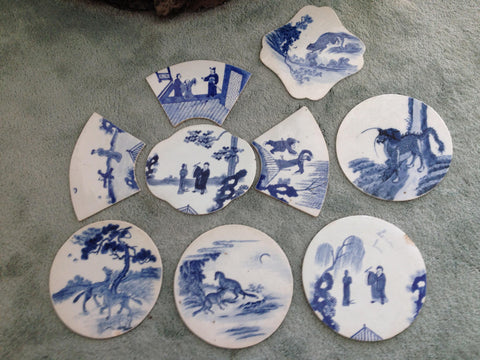 Collection of Nine Chinese Blue and White Porcelain Plaques, Late Qing Dynasty, probably originally intended for a screen