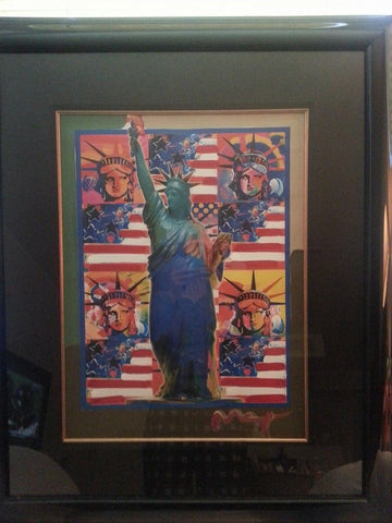 Peter Max (German/American, b. 1937), God Bless America with 5 Liberties, mixed media with acrylic
