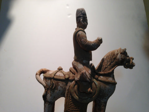 Chinese Pottery Funerary Model of a Horse & Rider, probably Ming Dynasty (1368-1644)