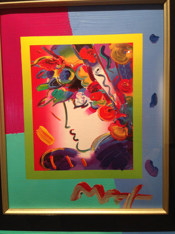 "Peter Max (American/German, b. 1937), ""Blushing Beauty"", mixed media on board, signed, together with smaller drawing"