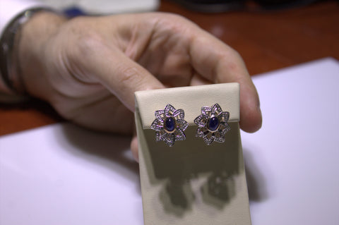 Pair of 14K White and Yellow Gold, Diamond and Sapphire Earrings, manufactured in the former USSR
