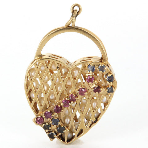 14K Yellow Gold, Cultured Pearl, Sapphire, and Ruby Pendant,  20th century