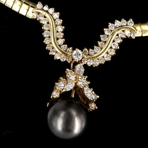 14K Yellow Gold, Diamond and Black Tahitian Pearl Necklace, 20th century