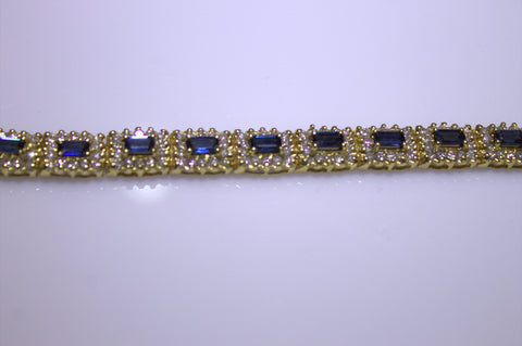 14K Yellow Gold, Diamond and Sapphire Bracelet, 20th century