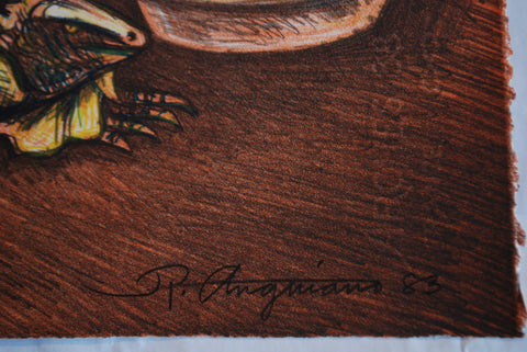 Raul Anguiano (Mexican, 1915-2006), Iguana Seller, 1983, lithograph in colors, signed and dated in pencil, annotated