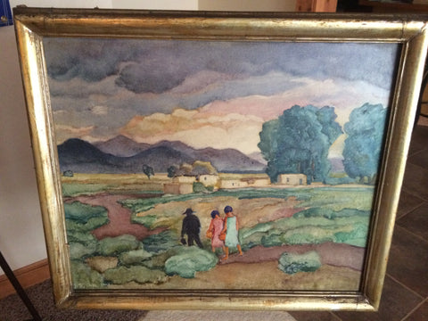 John William Orth (American, 1889-1976), Landscape with Figures, oil on masonite, signed