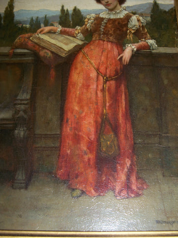 "William A. Breakspeare (English, 1856-1914), ""On the Terrace"", oil on panel, signed"