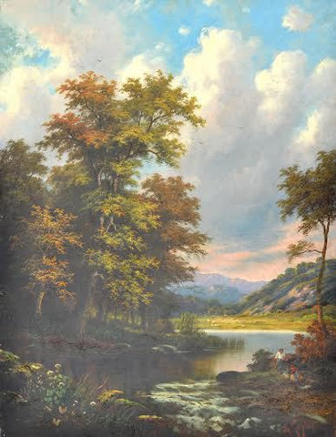 "British School (19th Century), Wooded Landscape with Lake and Mountains, oil on canvas, signed ""A. Taylor"""