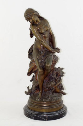 Mathurin Moreau (French, 1822-1912), Seated Woman with Cherub, patinated bronze sculpture, 19th/20th century