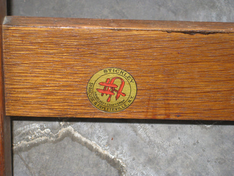 American Stickley Oak Bench, Syracuse and Fayetteville, NY, with label, 20th century