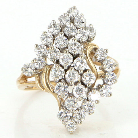 ​​​14K Yellow Gold and Diamond Cluster Ring