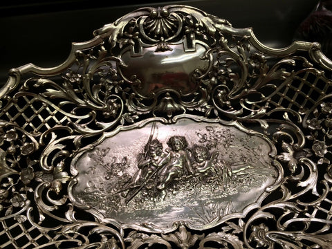 German Silver Reticulated Oval Basket