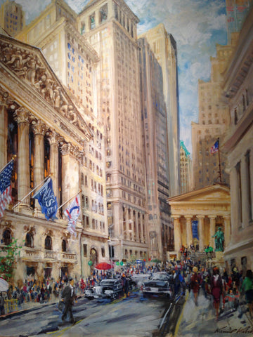 "Kamil Kubik (Czechoslovakian/American, 1930-2011), ""Wall Street"", oil on canvas, signed and dated 1990"