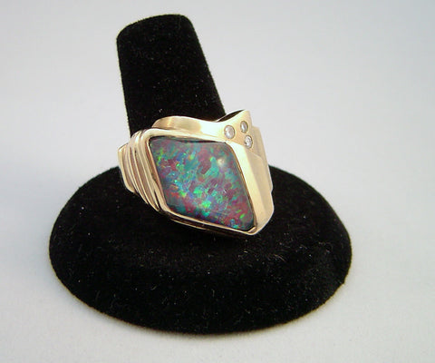 Black Opal and Gold Ring, ca. 1980s