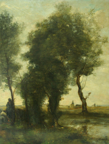 European School, Figures in a Landscape, oil on panel, in the manner of Jean Baptiste Camille Corot (French, 1796-1875)