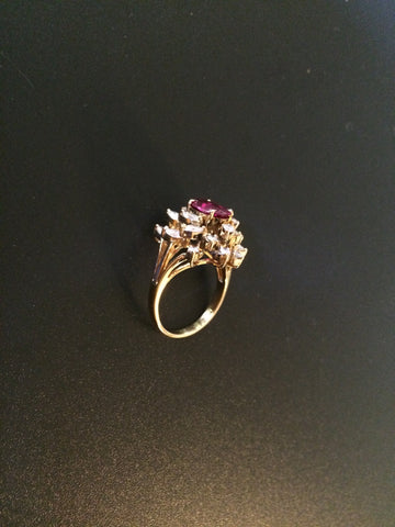 18K Yellow Gold, Diamond and Tourmaline Cocktail Ring, 20th century