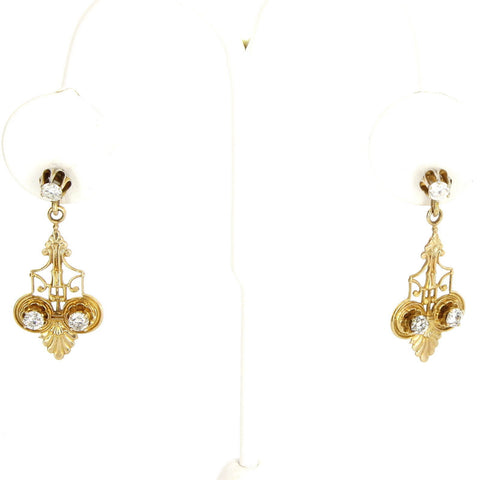Pair of 14K Yellow Gold and Diamond Drop Earrings, 20th century