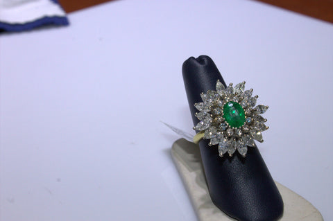 14K White and Yellow Gold, Diamond and Emerald Cocktail Ring, 20th century